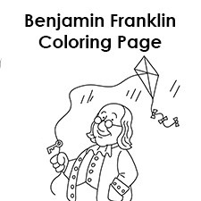 benjamin franklin coloring page - benjamin franklin printable coloring pages