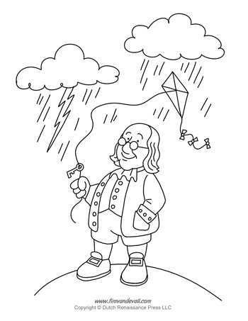 Ben Franklin Coloring Page - Tim\'s Printables