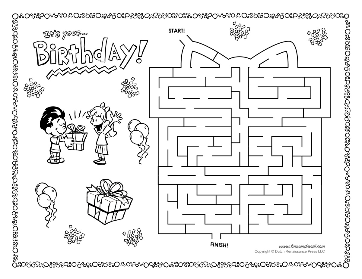 birthday maze tim 39 s printables. Black Bedroom Furniture Sets. Home Design Ideas