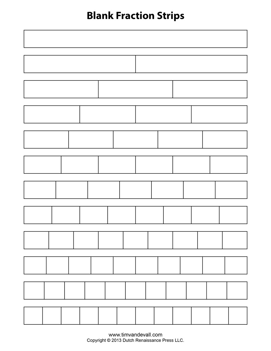 Blank Fraction Strips Tim S Printables
