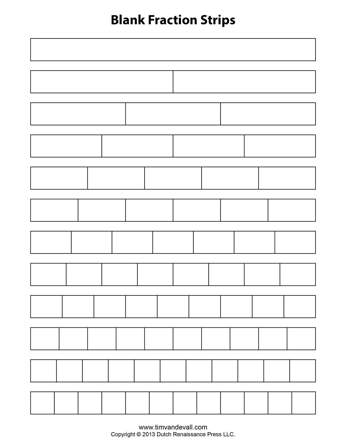 Fraction Strip Templates for Kids School Math Printables – Fraction Strip Worksheet