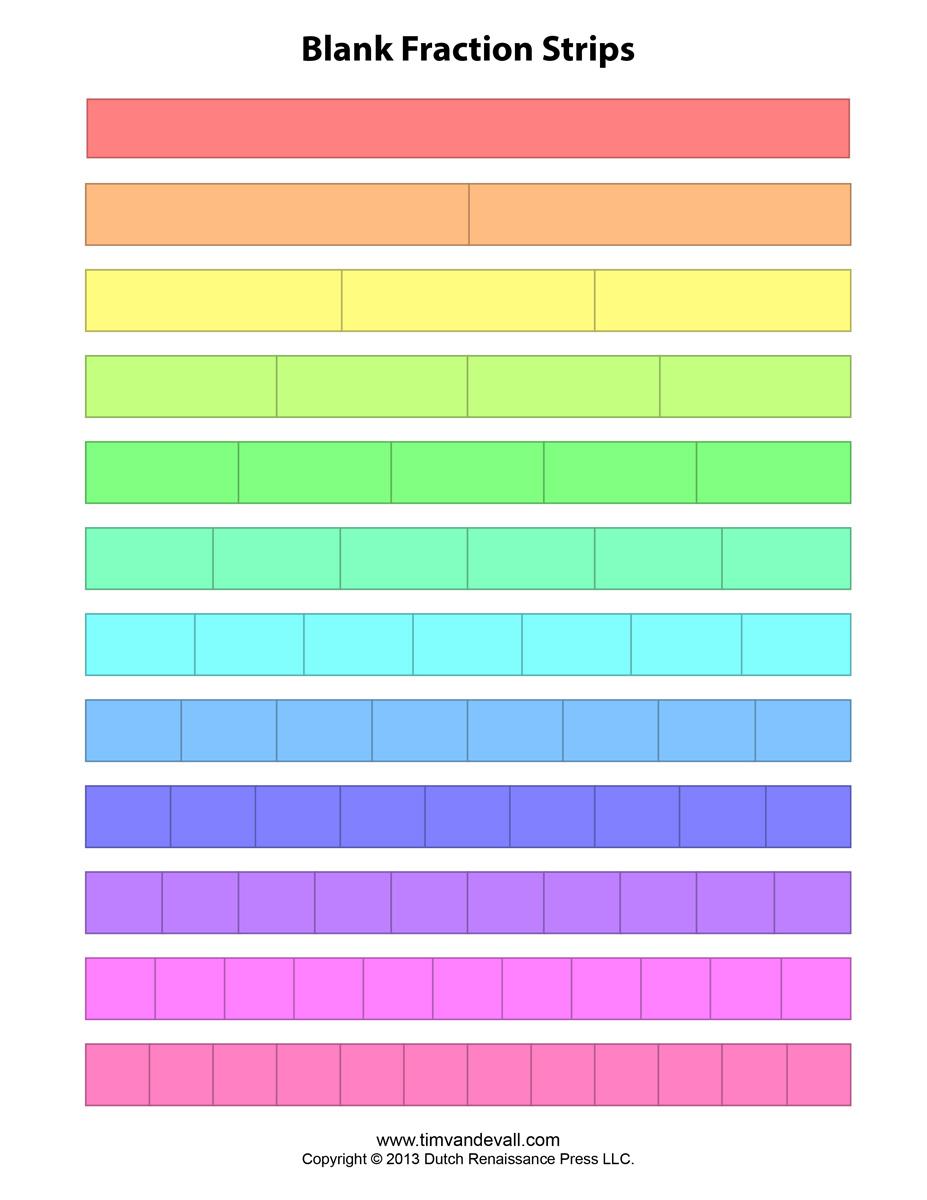 Free Printable Fraction Strips Blank Fraction Bars – Fraction Strip Worksheet