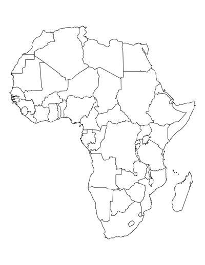 Printable Map Of Africa For Students And Kids Africa Map Template - Unlabelled map
