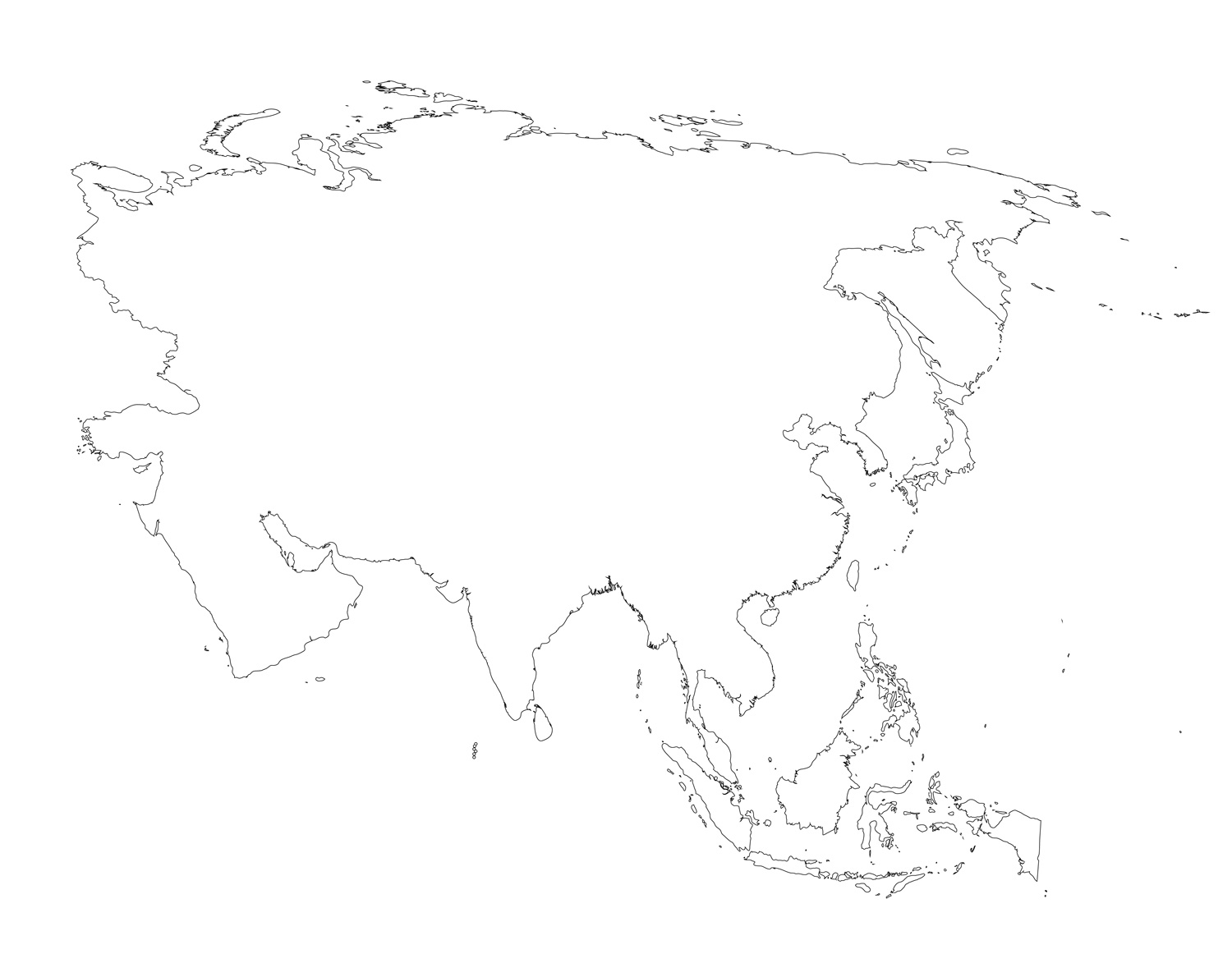 Blank Map Of Asia Countries.Blank Map Of Asia Printable