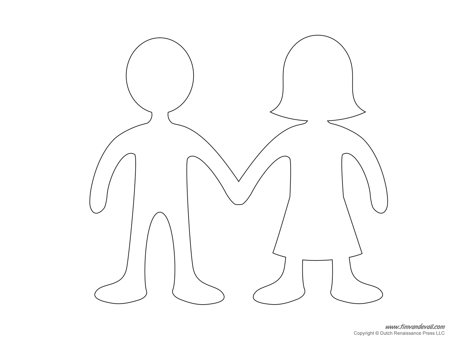 Printable paper doll templates make your own paper dolls for Paper doll templates cut out