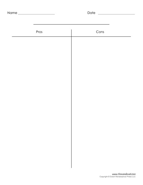 Blank T-Chart Templates | Printable Compare and Contrast ...