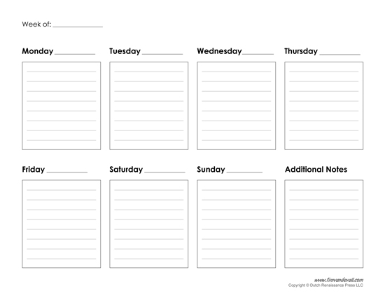 Printable Weekly Calendar Template – Free Blank PDF