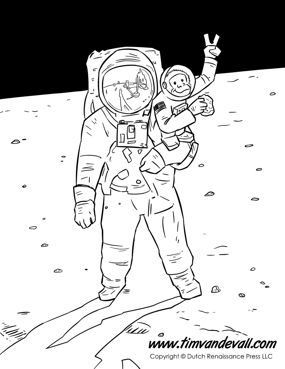 Astronaut coloring page since monkeys are usually small
