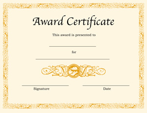 Blank award certificate templates for word printable certificates certificate template yadclub Images