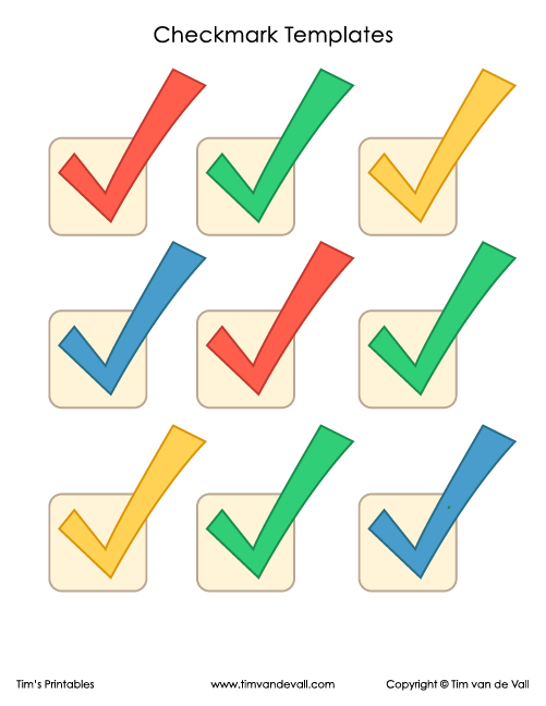Checkmark Symbol Templates Tims Printables