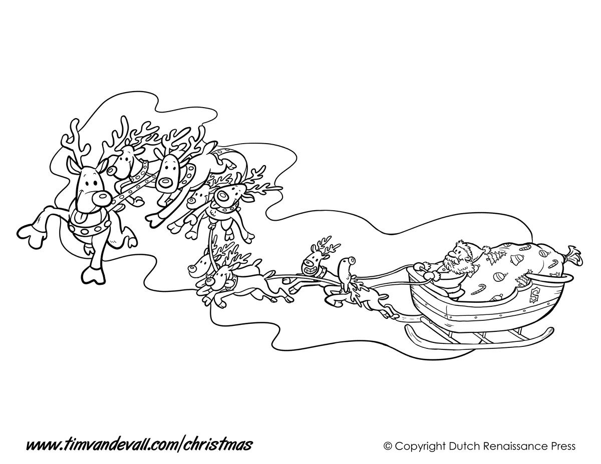 coloring pages of santa claus sleigh christmas coloring pages of - Santa Claus Sleigh Coloring Pages