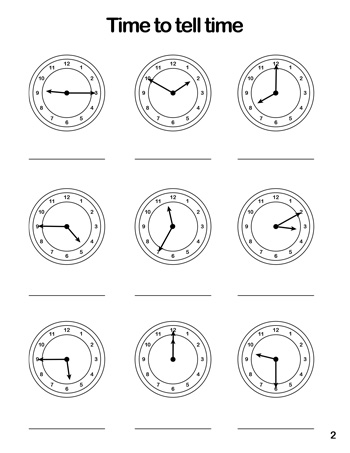 Clock Worksheet 2 Tims Printables