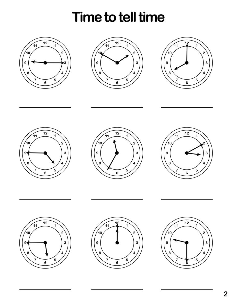 Clock Worksheet 2 Tims Printables