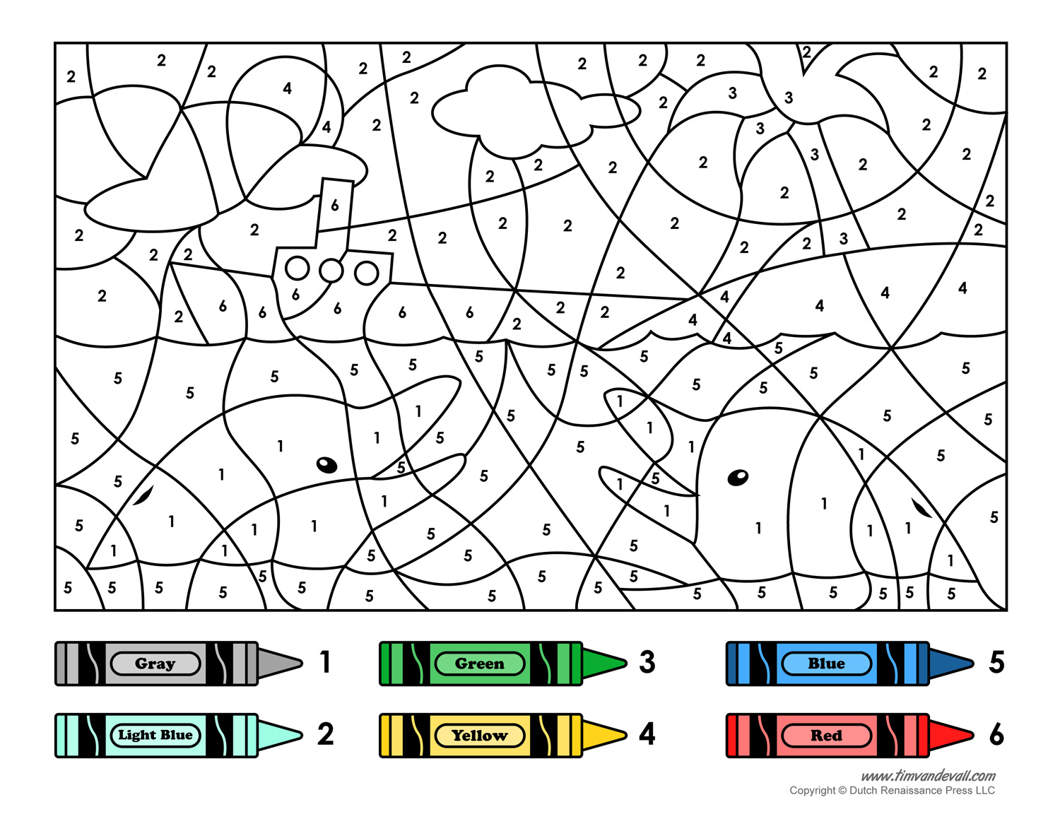 Free Ship Colour By Number Coloring Pages