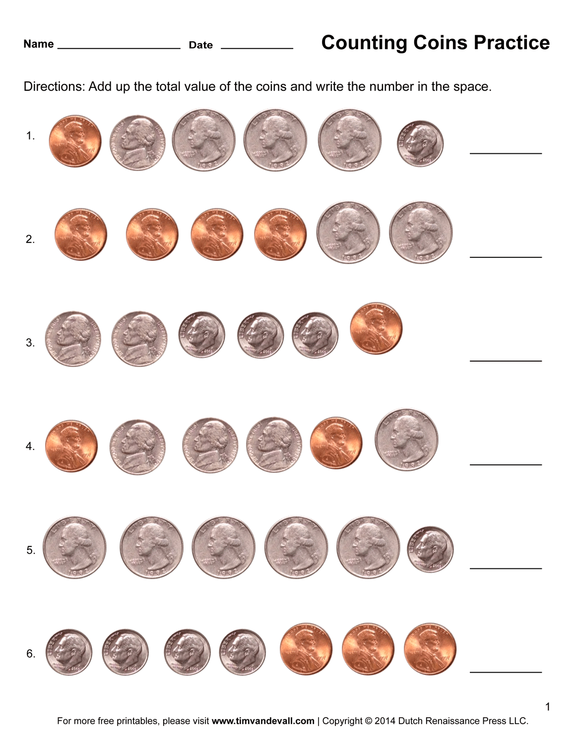 Counting Coins Worksheets - Printable First Grade Math ...