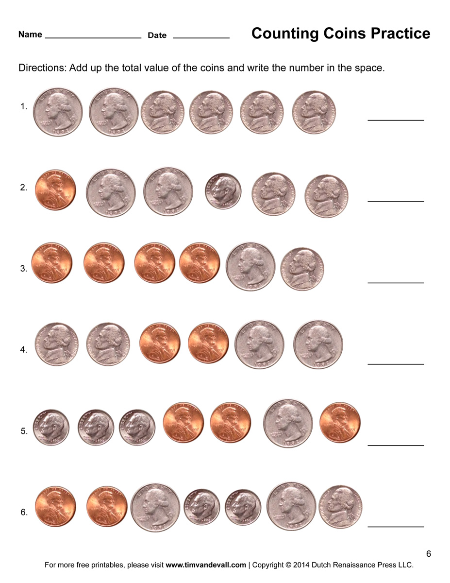 Worksheets Counting Coins Worksheet counting coins worksheet 6 tims printables 6
