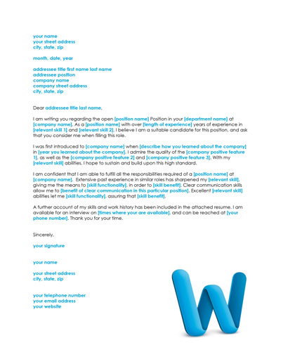 cover letter template - Simple Cover Letter Example