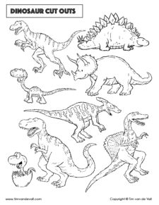 dinosaur cut outs - black and white