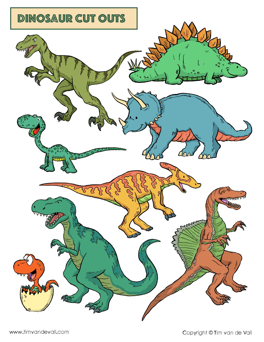 graphic about Dinosaur Cutouts Printable called Free of charge Dinosaur Slash Outs PDF - Dinosaur Arts Crafts - Tims