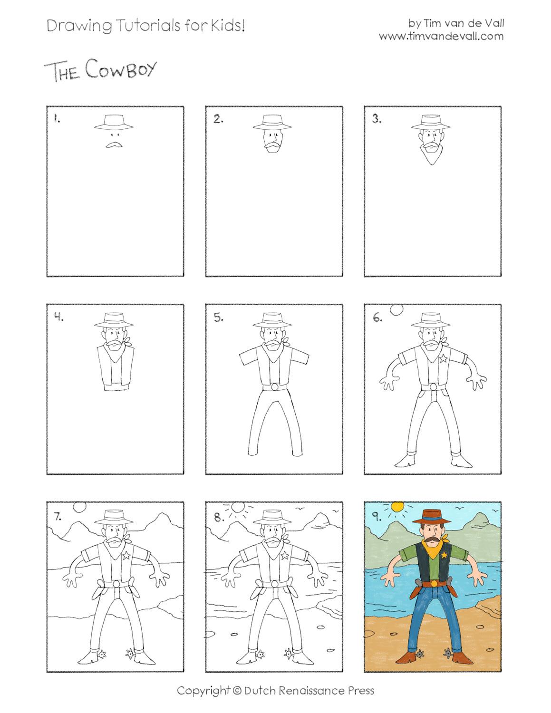 Uncategorized Drawing Tutorials For Kids cowboy drawing tutorial draw a tutorials for kids easy cowboy