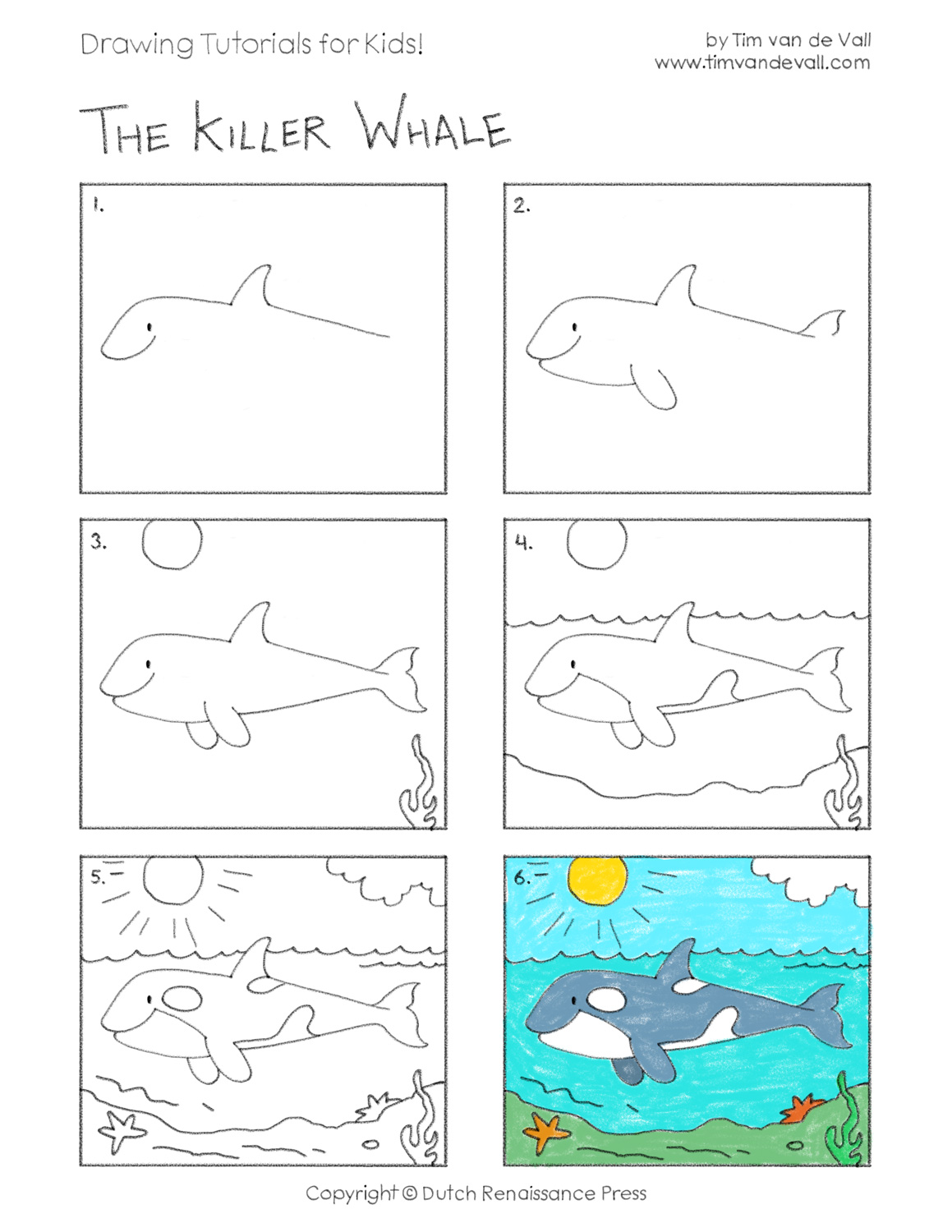Easy Drawing Tutorials for Kids - Killer Whale / Orca
