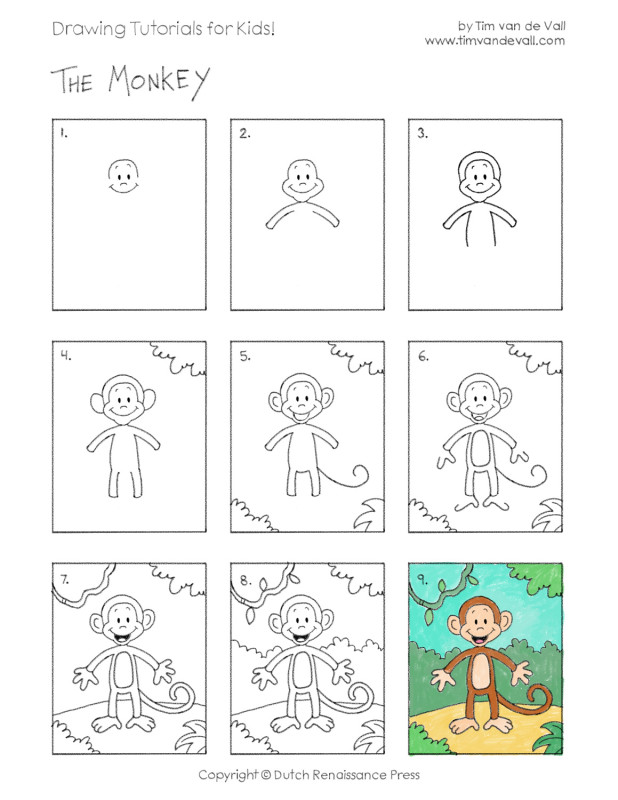 Easy Drawing Tutorials For Kids Monkey Tim S Printables