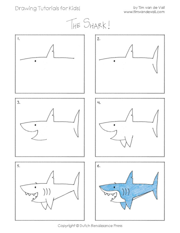 easy drawing tutorials for kids shark tim s printables