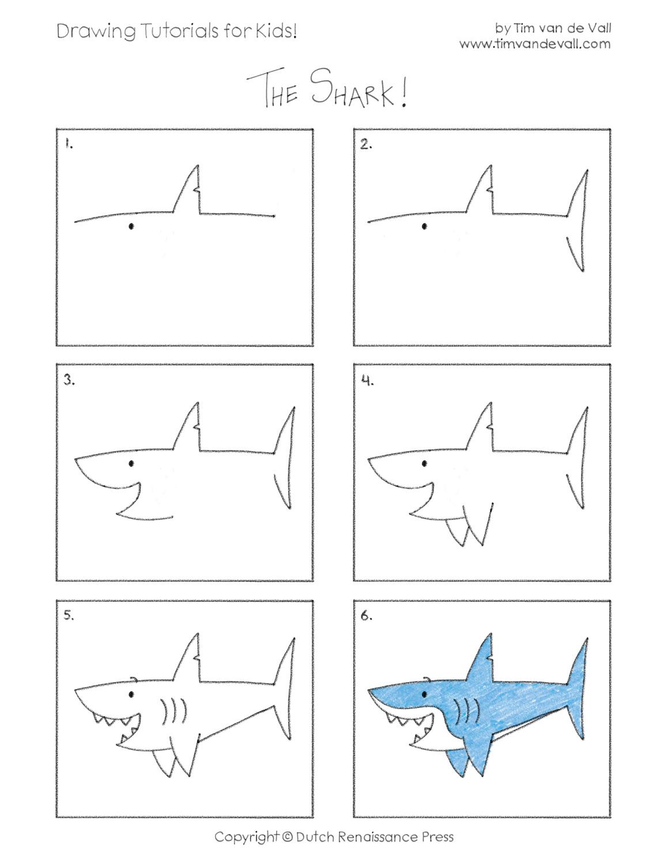 Easy Drawing Tutorials for Kids - Shark