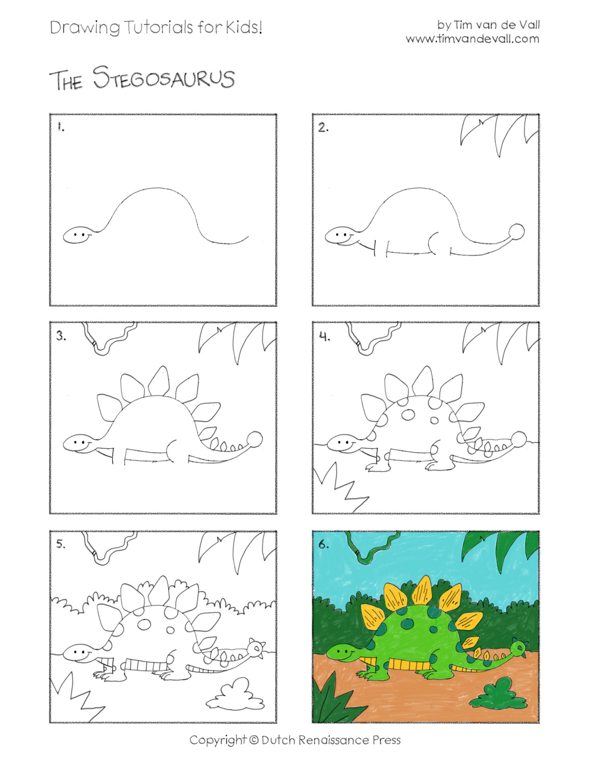 easy drawing tutorials for kids stegosaurus