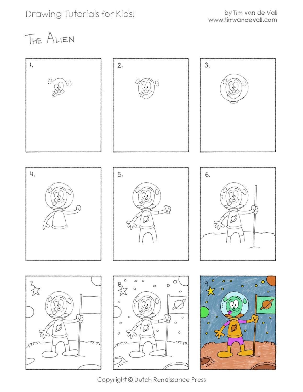 Easy Drawing Tutorials for Kids - Alien