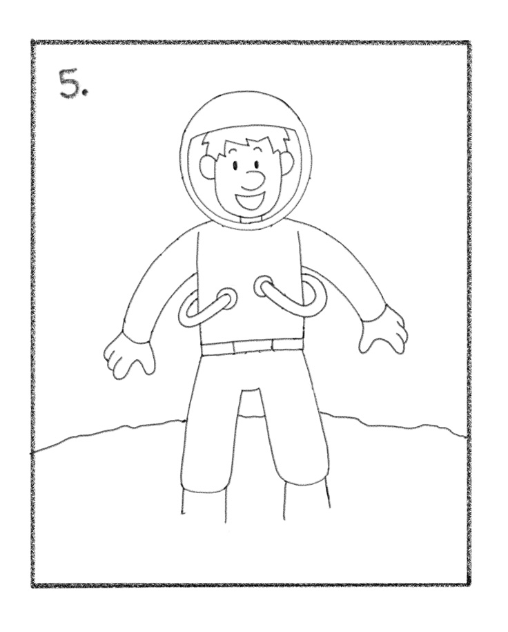 astronaut drawing for kids
