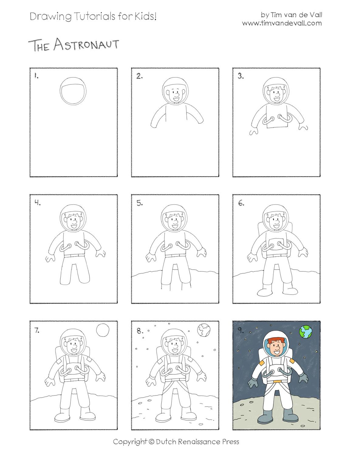Easy Drawing Tutorials for Kids - Astronaut