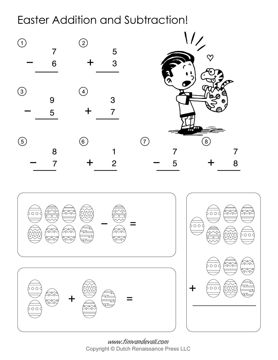 Printable Easter Math Worksheets – Math Addition Subtraction Worksheets