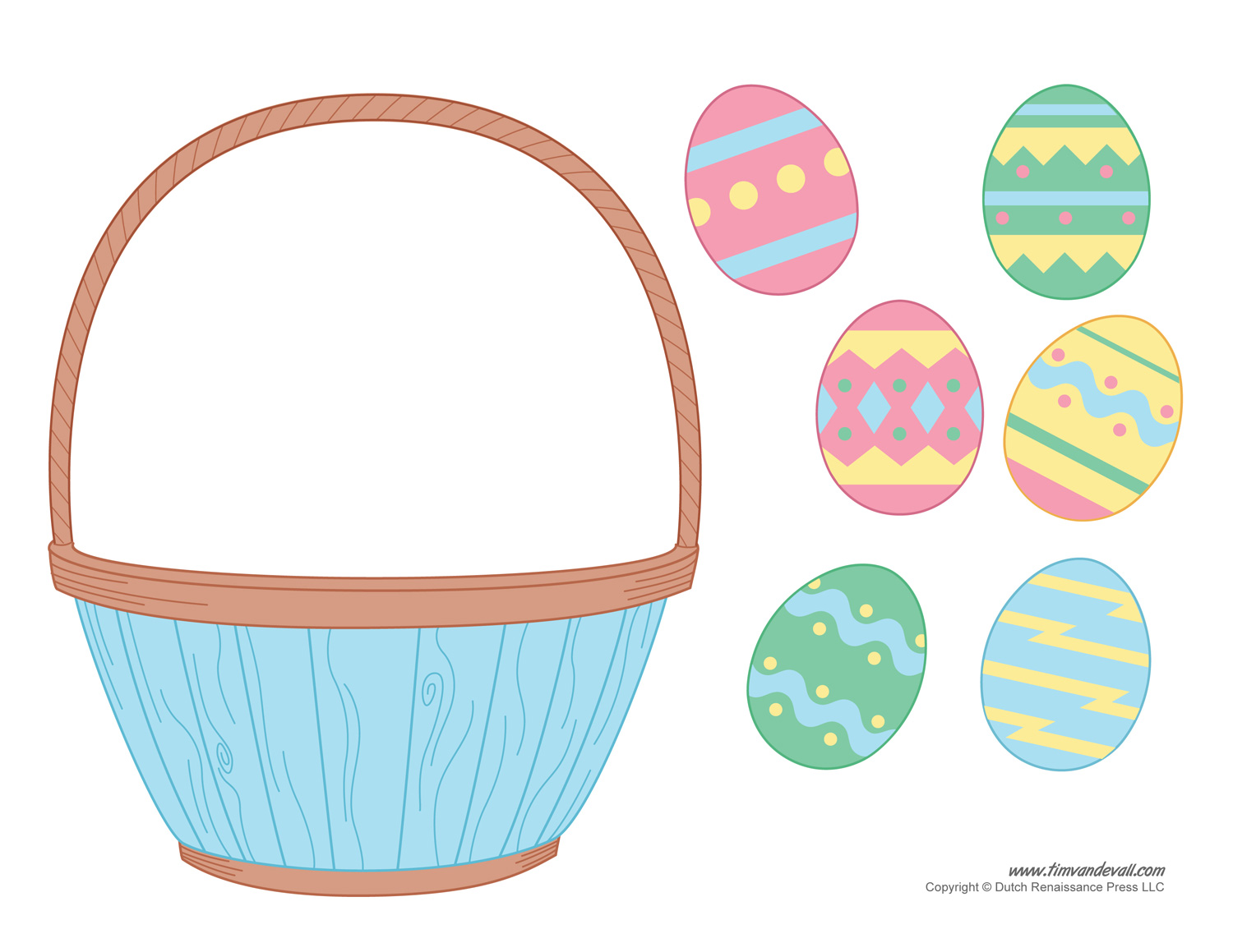 Easter basket template clipart craft