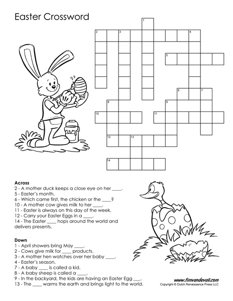 Easter crossword puzzle black and white pdf