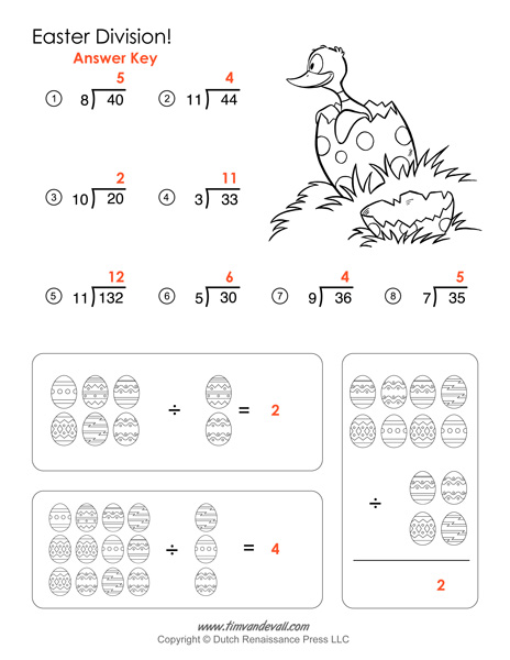 Worksheets Division Worksheets With Answer Key division worksheets and answer key printable easter math activities
