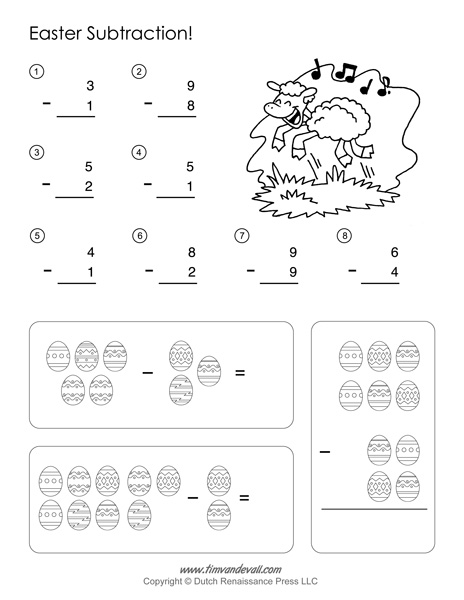 Easter Math Worksheets - Subtraction Worksheet