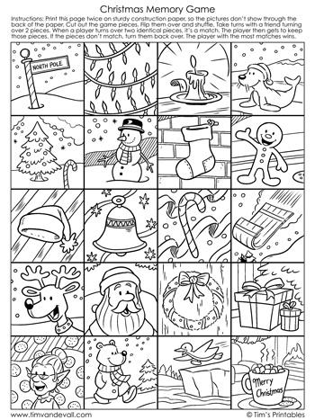 christmas memory game black and white
