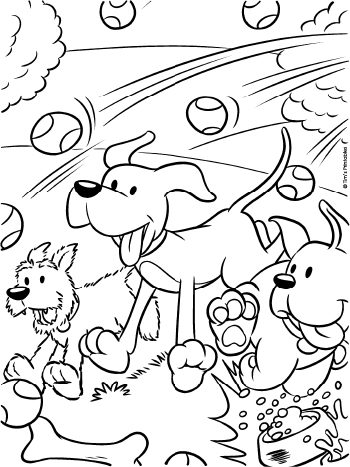 coloring page at the dog park