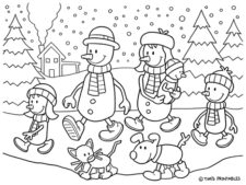 snowman family coloring page