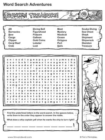 sunken-treasure-word-search-black-and-white