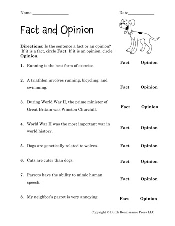fact and opinion worksheets