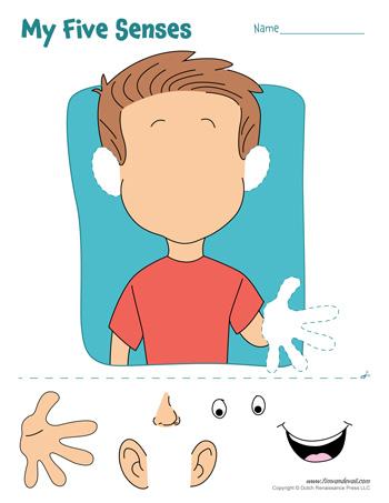 five senses craft by tim van de vall a printable five senses cut and ...