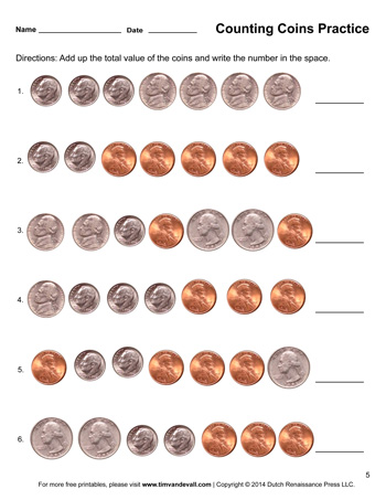 Counting Coins Worksheet #5 - Tim's Printables
