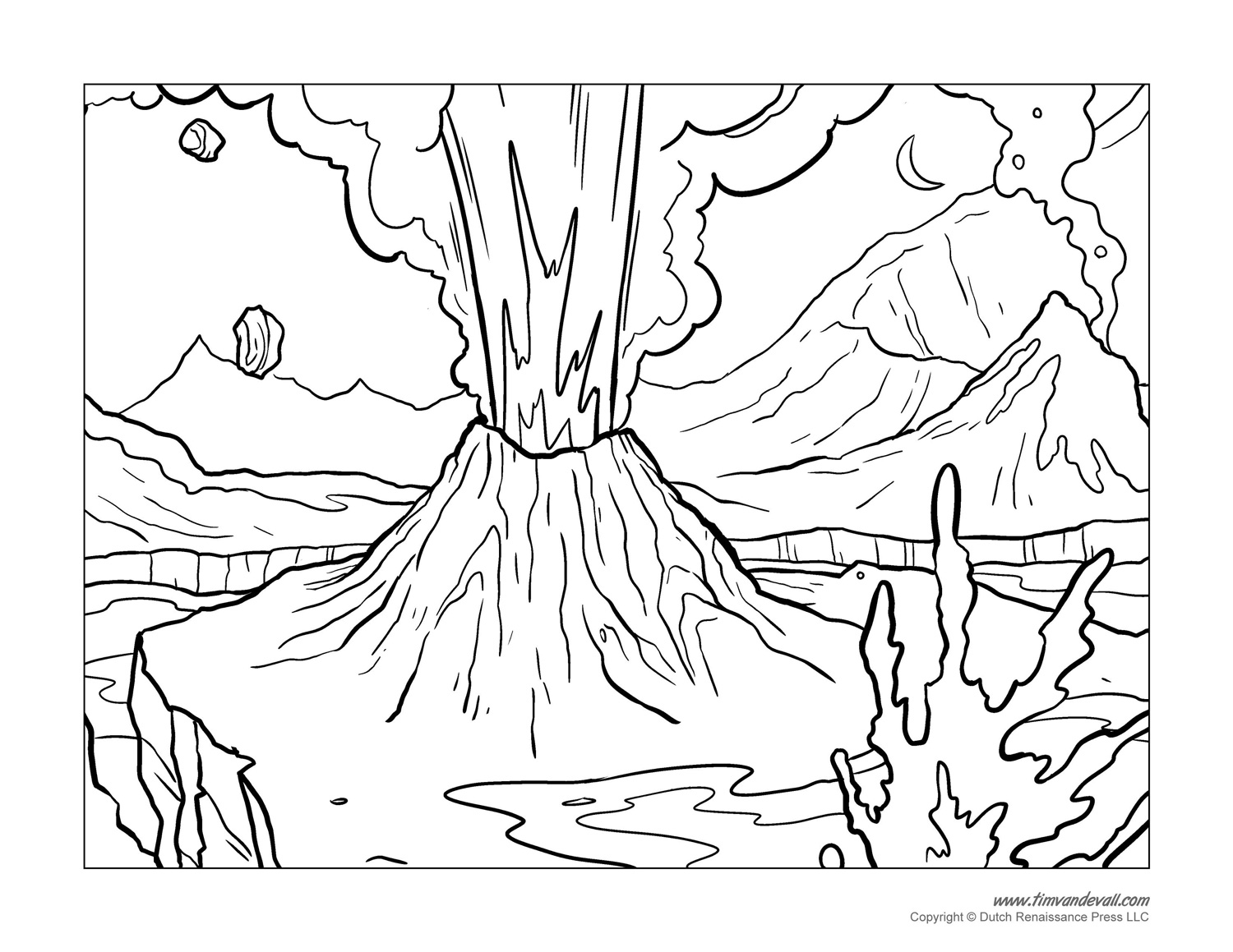 coloring pages volcano - photo #14