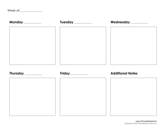 Blank 5 Day Week Calendar | Calendar Template 2016