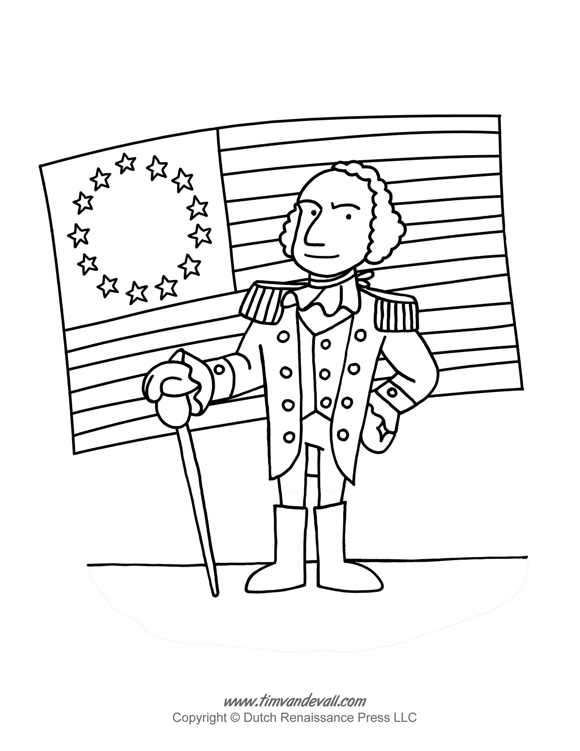 George Washington Coloring Page Tims Printables