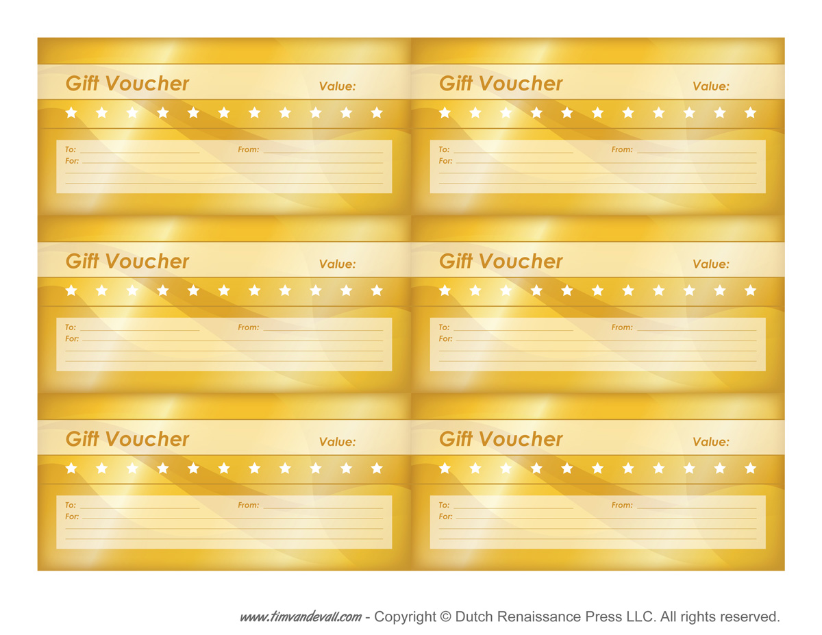 graphic about Printable Voucher called Totally free Printable Present Voucher Templates Blank Reward Vouchers