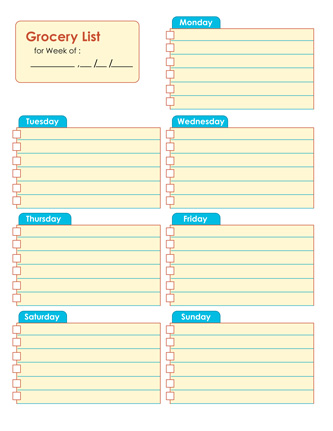 Grocery Shopping List Template  Grocery Checklist Template