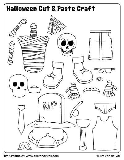 Halloween Cut & Paste Craft - Sheet 2 - Tim's Printables